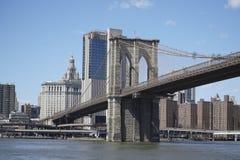 Brooklyn bro New York - en berömd gränsmärke MANHATTAN - NEW YORK - APRIL 1, 2017 Royaltyfri Foto