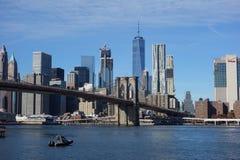 Brooklyn bro New York Manhattan Hudson River Arkivbild