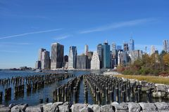 Brooklyn bro New York Manhattan Hudson River Royaltyfri Foto