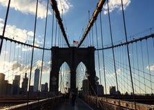 Brooklyn bro och Manhattan stad, New York Arkivfoto
