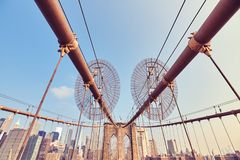 Brooklyn bro på soluppgång, New York Arkivfoton