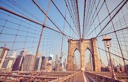 Brooklyn bro på soluppgång, New York Royaltyfri Foto