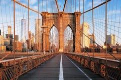 Brooklyn bro på soluppgång, New York City, Manhattan Fotografering för Bildbyråer