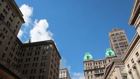 Brooklyn Building Boarded Up Abandoned FlatbushBuildings Copper Brooklyn Borough Hall Clock Bells Wide stock footage