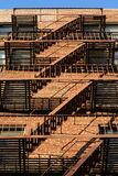 Brooklyn Classic Red Brick Building Fire Escape Stairs.  royalty free stock photography