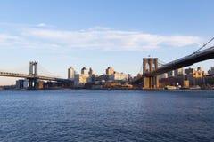 Brooklyn del centro visto attraverso il fiume Immagine Stock