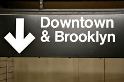 Brooklyn & downtown sign in subway Royalty Free Stock Photos