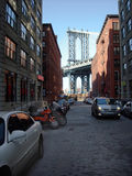 Brooklyn Dumbo New York USA. Brooklyn view of Manhattan Bridge stock photo