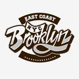 Brooklyn East Coast Custom Script Lettering Vintage Influenced Typographic Type Label Tee Print Design On A White. Background. Vector Graphic royalty free illustration