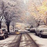 Brooklyn en la nieve Imágenes de archivo libres de regalías