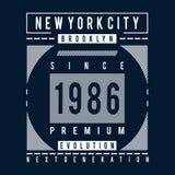 Brooklyn ewolucji typografii projekta trójnik royalty ilustracja