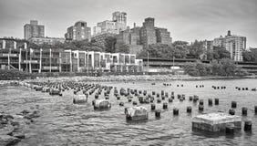 Brooklyn Heights waterfront, New York City, USA. Black and white picture of Brooklyn Heights waterfront, New York City, USA Royalty Free Stock Images