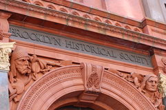 The Brooklyn Historical Society. The ornate entrance to the Brooklyn Historical Society in New York City stock image