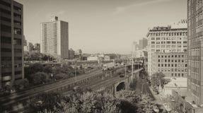 Brooklyn linia horyzontu od Manhattan mosta, Miasto Nowy Jork Zdjęcia Stock