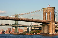 Brooklyn and Manhattan Bridge Stock Photo