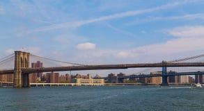 Brooklyn and Manhattan Bridge Royalty Free Stock Photos