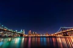 Brooklyn and Manhattan Bridge at Night. Long Exposure. New york. NYC. Stock Photo