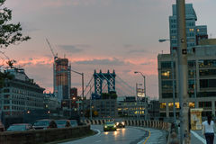 Brooklyn and Manhattan bridge at sunset Stock Photography