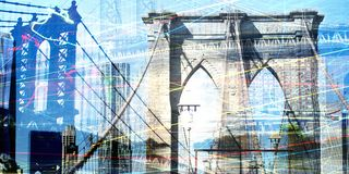 Brooklyn and Manhattan bridges. Modern art. Brooklyn and Manhattan bridges, view on downtown vector illustration