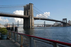 Brooklyn and Manhattan Bridges in New York City Royalty Free Stock Photography