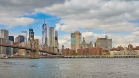 Brooklyn and Manhattan bridges, New York City, USA stock video footage