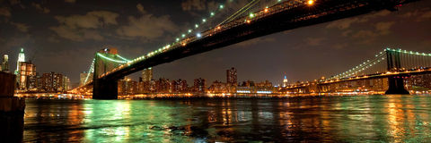 Brooklyn and Manhattan Bridges at night Stock Image