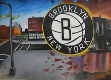 Brooklyn Nets Mural in Park Slope section of Brooklyn Stock Image