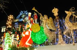 BROOKLYN, NEW YORK - DECEMBER 20, 2017 - Dyker Heights Christmas Lights are decorated for the holiday for. BROOKLYN, NEW YORK - DECEMBER 20, 2017 - Dyker Heights stock image