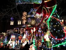 BROOKLYN, NEW YORK - DECEMBER 20, 2017 - Dyker Heights Christmas Lights are decorated for the holiday for. BROOKLYN, NEW YORK - DECEMBER 20, 2017 - Dyker Heights royalty free stock images