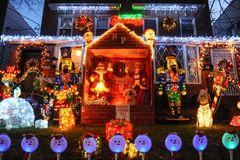 BROOKLYN, NEW YORK - DECEMBER 20, 2017 - Dyker Heights Christmas Lights are decorated for the holiday for. BROOKLYN, NEW YORK - DECEMBER 20, 2017 - Dyker Heights royalty free stock photography