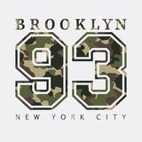 Brooklyn, New York. Design clothes with camouflage, t-shirts. Sports. Brooklyn, New York. Design clothes with camouflage, t-shirts. Sports graphics with number Royalty Free Stock Photo