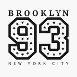 Brooklyn, New York. Design clothes, t-shirts. Vector illustration. Brooklyn, New York. Design clothes, t-shirts. Sports graphics with number for apparel. Vector Royalty Free Stock Images