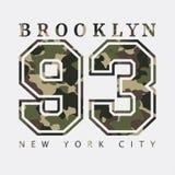 Brooklyn New York Designkläder med kamouflage, t-skjortor sportar vektor illustrationer
