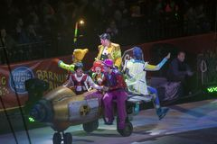 Clowns perform at Barclays in Brooklyn during Ringling Bros Circ. BROOKLYN, NEW YORK - FEBRUARY 25: Clowns perform at Barclays during Ringling Bros Barnun Baley Royalty Free Stock Images