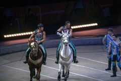 Horse riders perform during Ringling Bros Circus at Barclays Cen. BROOKLYN, NEW YORK - FEBRUARY 25: Horse riders perform during Ringling Bros Barnum Bailey Stock Photo