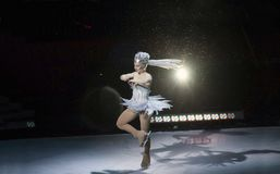 Ice skate performer during Ringling Brothers and Barnum show in. BROOKLYN, NEW YORK - FEBRUARY 25: Ice skate performer during Ringling Brothers and Barnum show Stock Photo