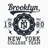 Brooklyn, New York grunge print for apparel. Typography emblem for t-shirt. Design for athletic clothes. Vector. Brooklyn, New York grunge print for apparel Stock Images