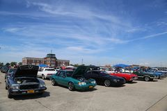 Historical American made cars on display at the Antique Automobile Association of Brooklyn Annual Spring Car Show. BROOKLYN, NEW YORK - JUNE 8, 2014: Historical Royalty Free Stock Image