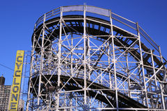 Historical landmark Cyclone roller coaster in the Coney Island section of Brooklyn. Royalty Free Stock Photo