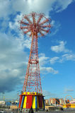 BROOKLYN, NEW YORK - MAY 31 Coney Island Boardwalk with Parachute Jump in the background Stock Photos