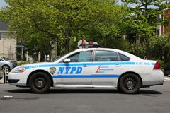 NYPD provides security during Bay Fest street festival on Sheepshead Bay in Brooklyn. BROOKLYN, NEW YORK - MAY 20, 2018: NYPD provides security during Bay Fest royalty free stock photo
