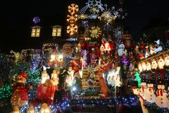 Christmas house decoration lights display in the suburban Brooklyn neighborhood of Dyker Heights. BROOKLYN, NEW YORK - NOVEMBER 28, 2017: Christmas house royalty free stock images