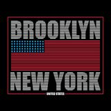 Brooklyn, New York typography graphics for t-shirt. Print athletic clothes with USA flag. Line design for sport original apparel. Vector illustration Royalty Free Stock Photo