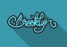 Brooklyn New York USA märker tecknet Logo Hand Drawn Lettering för bild för t-skjorta- eller klistermärkevektor stock illustrationer