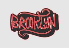 Brooklyn New York USA märker tecknet Logo Hand Drawn Lettering för bild för t-skjorta- eller klistermärkevektor royaltyfri illustrationer