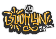 Brooklyn New York USA som Hip Hop gällde etikettsgrafitti, påverkade etiketttecknet Logo Hand Drawn Lettering för t-skjortanolla royaltyfri illustrationer