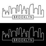 Brooklyn, Nowy Jork miasto linia horyzontu liniowy styl ilustracja wektor