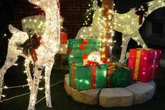 BROOKLYN, NUEVA YORK - 20 de diciembre de 2017 - las luces de la Navidad de las alturas de Dyker se adorna para el día de fiesta  Imágenes de archivo libres de regalías