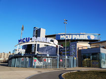 Estimativa de MCU um estádio de basebol do campeonato menor na seção de Coney Island de Brooklyn Foto de Stock Royalty Free