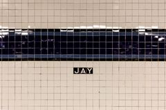 Brooklyn, NY/EUA - 31 de julho de 2018: Jay Street Metro Tech Subway S imagens de stock royalty free
